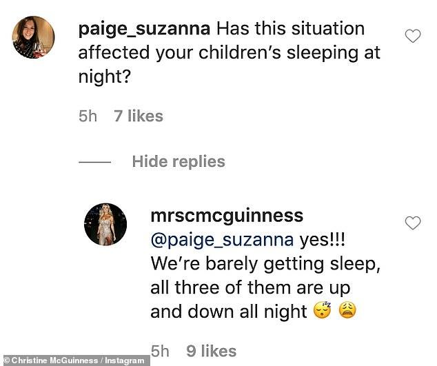 Private sleep: Christine revealed she and her husband Paddy `` barely fall asleep ''