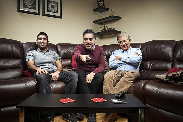 Trio: Sid, 73, has been forced to stay out of the series as he must stay isolated from his sons Baasit, 34, and Umar, 41, who appeared in the series without him from their Derby home