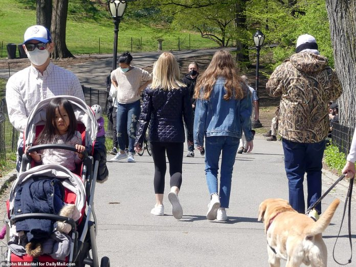 We see people walking in Central Park on Sunday. Some went with their families and others walked their dogs