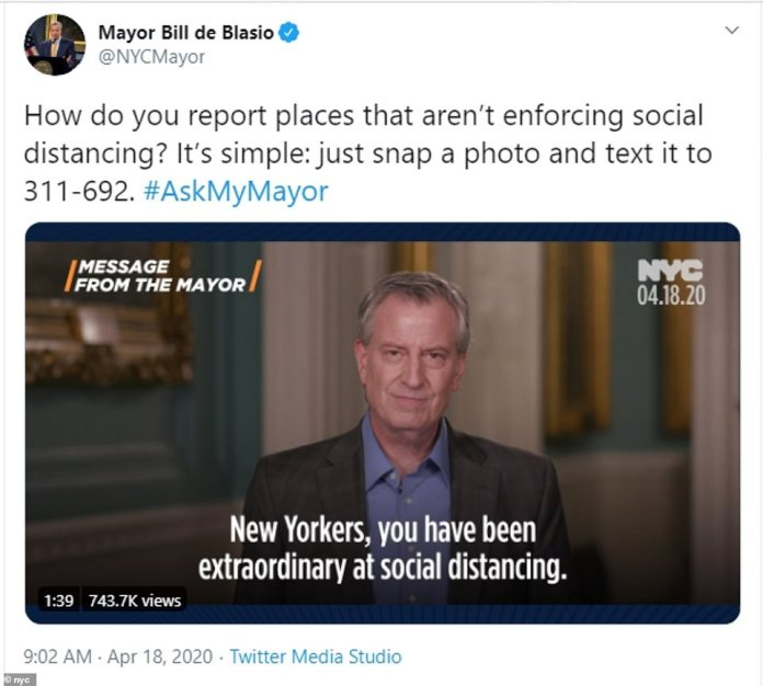 New York Mayor Bill de Blasio urged city residents to speak out against those who don't follow social distancing guidelines