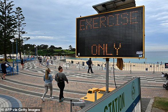 An ABS survey has revealed that most Australians are obeying newly enforced public health guidelines. Pictured is Sydney's Coogee Beach on Monday after it was reopened for exercise