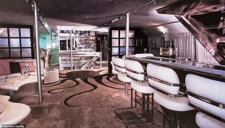 The original Octopussy interior. A new documentary has revealed the fascinating story of how engineers turned businessman John Staluppi's dream of owning the world's fastest luxury superyacht into reality