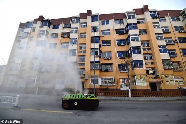 Disinfectant is sprayed over streets in Taiyuan, Shanxi, China. It can help to clear the virus, which can survive on hard surfaces for a considerable period of time