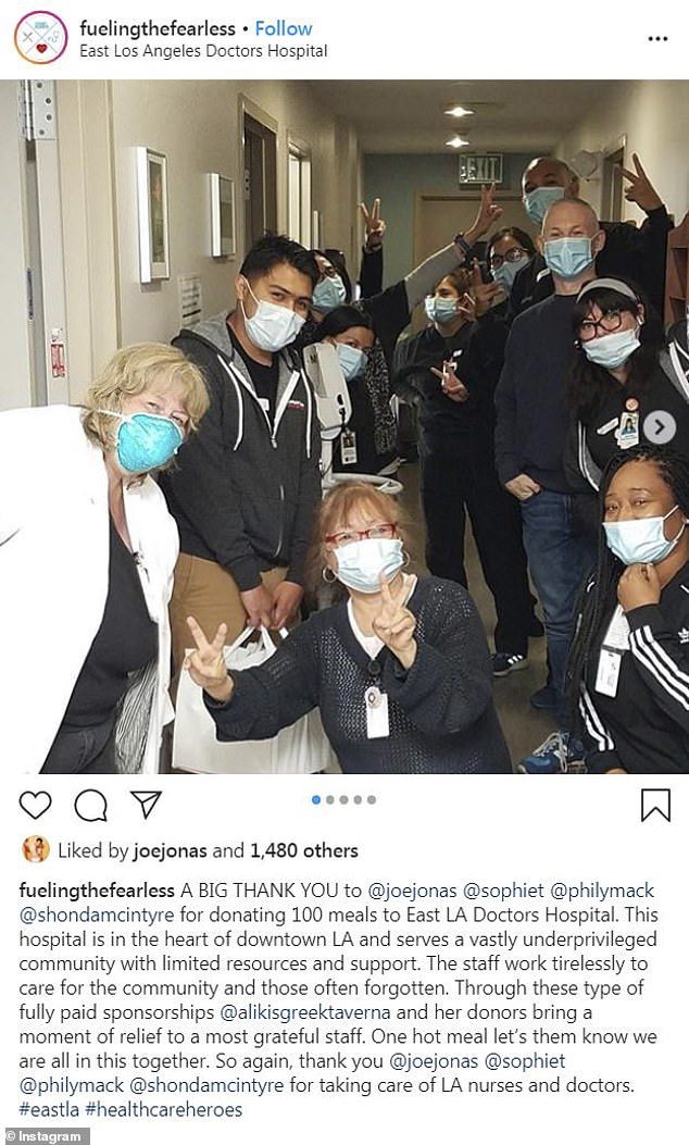 Teamwork: Fueling the Fearless revealed the donation on his Instagram page while thanking the celebrity couple, as well as Joe's manager Phil McIntyre and his wife Shonda McIntyre
