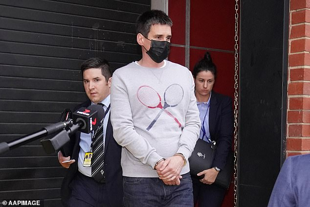 Pusey (pictured) is alleged to have taken disturbing pictures at the crash sight, showing the officers' lifeless bodies