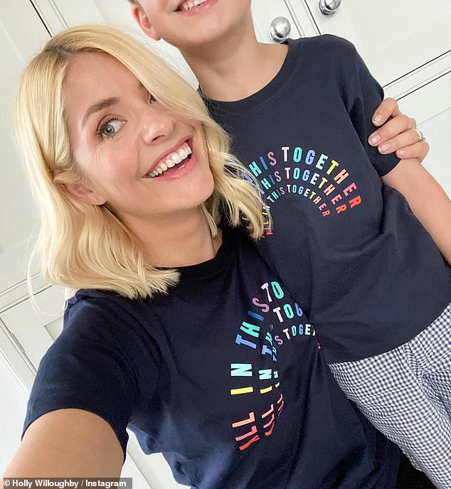 Sweet: Holly Willoughby went on Instagram Thursday to share a sweet snapshot with her son Chester, whom she rarely presents on social media