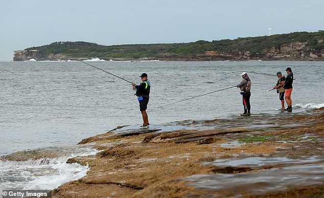 Sgt Buchan said people have questioned the rules around fishing and why coronavirus restrictions are different in each state. Pictured:Men are seen fishing on Bare Island in Sydneyon April 16