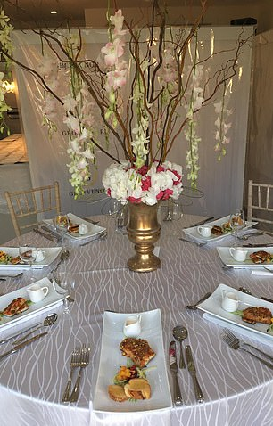 In addition to the long top table, there were three round tables that could seat between four and seven