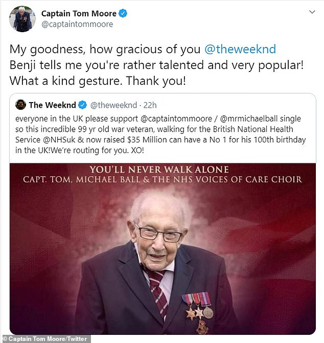 Sweet: Sharing his gratitude, Captain Tom told The Weeknd: `` My God, how gracious you are @theweeknd Benji tells me that you are quite talented and very popular! ''