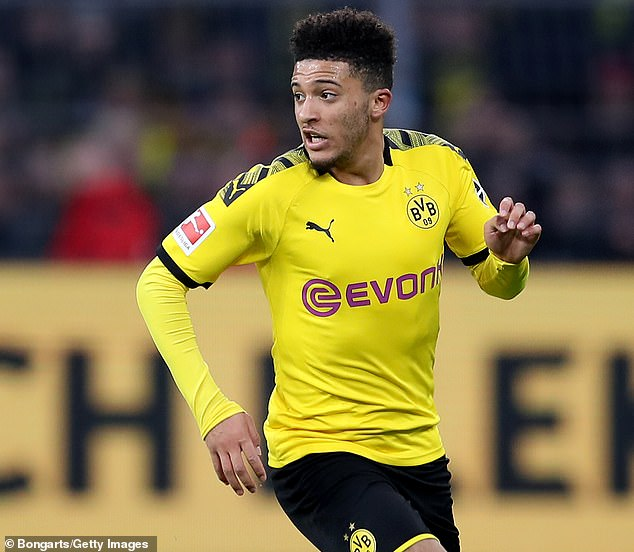 Borussia Dortmund's Jadon Sancho, valued at £100m, has been linked with a move to United
