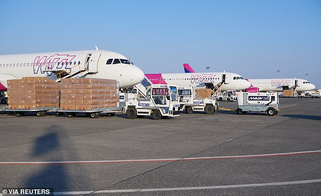 Photo of a Wizz Air aircraft delivering a shipment of protective equipment from China to Hungary