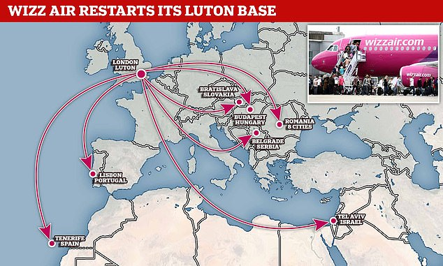 Wizz Air will start flying to these destinations from London Luton. Flights begin May 1