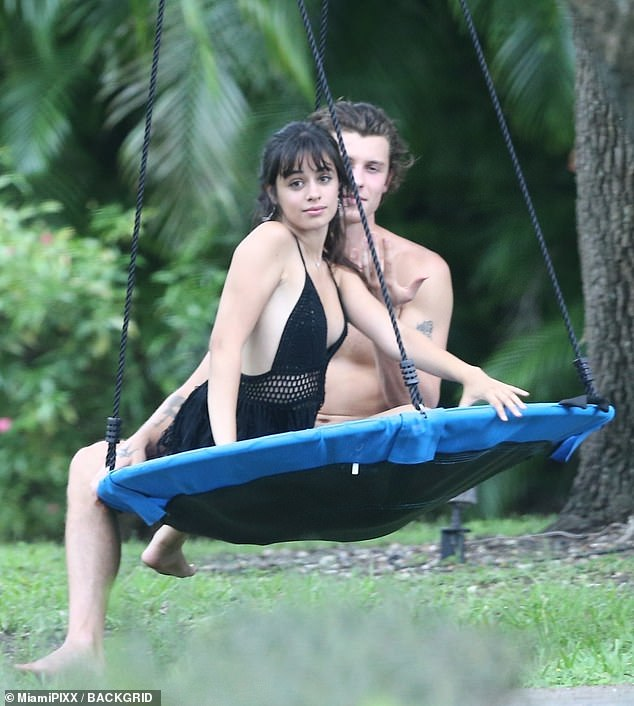 Fun in the shade:Shawn Mendes and Camila Cabello seemed loved up on Saturday while spending time outside