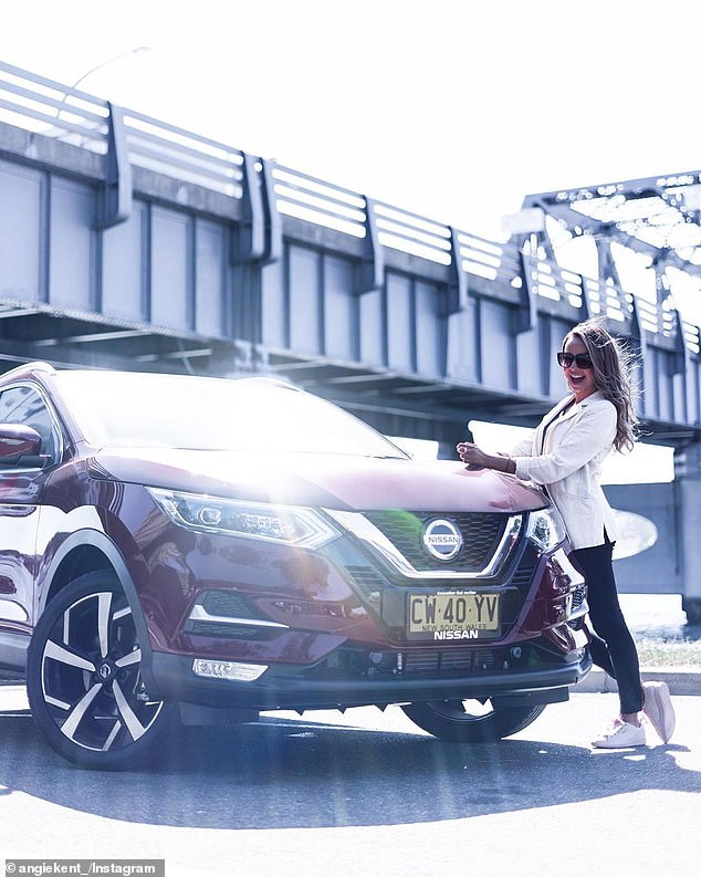 Being famous pays off! Bachelorette's Angie Kent (pictured) and Carlin Sterritt, 30, showed off their new free cars without Instagram this weekend after signing a deal with Nissan