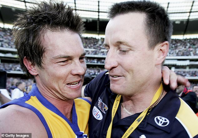 Ben Cousins (left) and John Worsfold (right) are pictured together after winning the AFL Grand Final against the Sydney Swans at the MCG in 2006