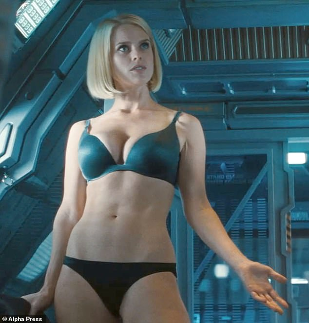 Dare to bare: The actress previously spoke about why she has 'no aversion' to showing 'flesh' (pictured in Star Trek in 2012)
