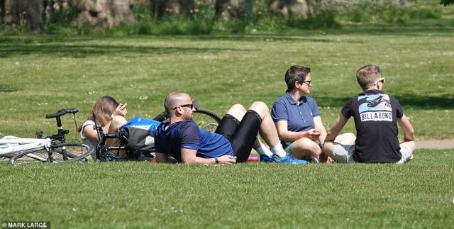 This family looked to be enjoying the sun in Green Park, London this afternoon despite the lockdown rules still in place