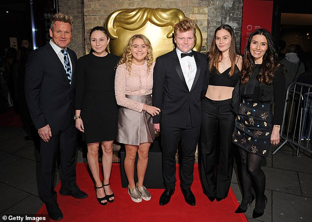 Close family: Ramsay has relocated to Cornwall with his family - daughter Megan, 22, twins Jack and Holly, 20, daughter Matilda, 18, and wife Tana, 45 (from left to right)