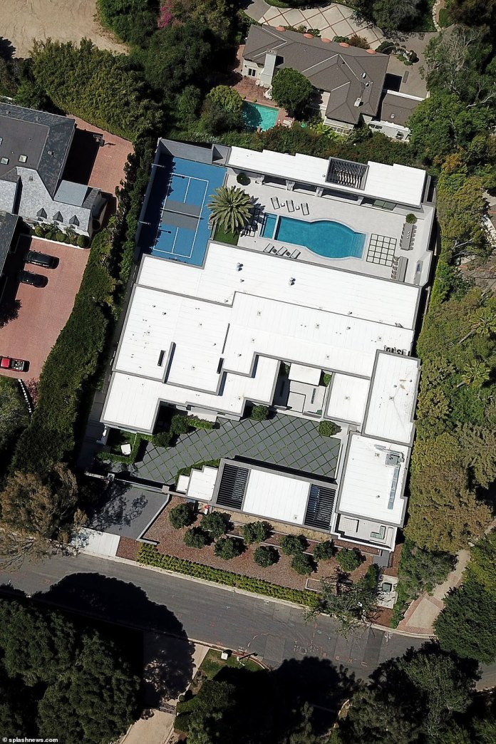 New digs: Kylie has bought a new $36.5million Holmby Hills mansion and it looks like she is settling in nicely