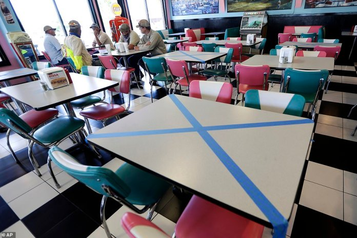 Tables are marked for social distancing at Hwy 55 Burgers Shakes & Fries in Nolensville, Tennessee Monday