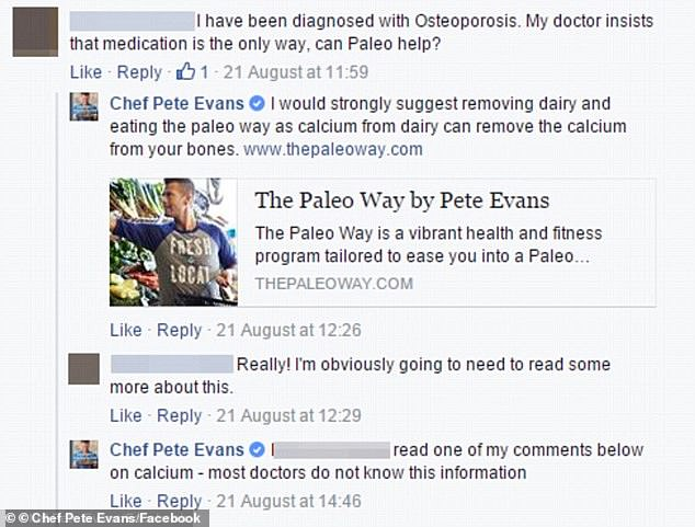 'Most doctors don't know this information': Evans was slammed in August 2016 for dishing out unqualified medical advice when he told a woman with osteoporosis to stop consuming dairy