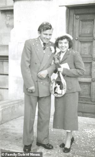 Bill and Mary Dartnall on their wedding day, November 1956