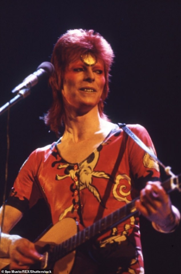 David Bowie performing as Ziggy Stardust David Bowie in concert at Earl's Court, London, UK - May 1973.