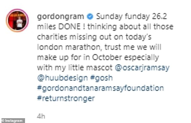 Good cause: The star has completed two extensive cycles while staying in the area and celebrated completing his latest route with a post on social media