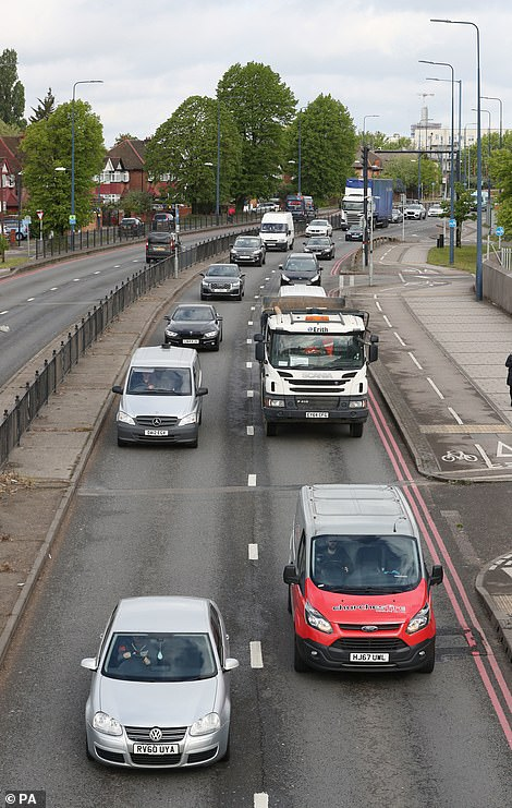Traffic on the A40 Western Avenue (right hand lane is inbound towards central London) in Acton, northwest London