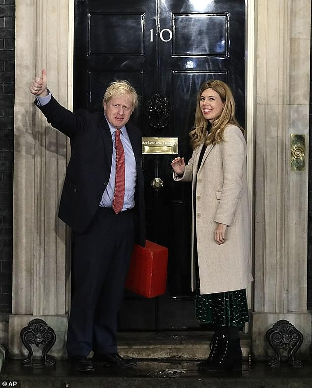 Boris Johnson and his fiancee Carrie Symonds (pictured, entering No 10) announced the birth of a 'healthy baby boy' in a London hospital this week