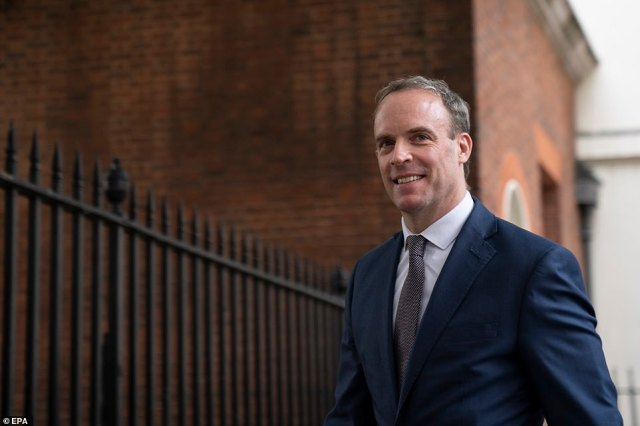 At the Government's daily press conference in Downing Street, First Secretary of State Dominic Raab (pictured) applauded the 'fantastic Mail Force campaign'