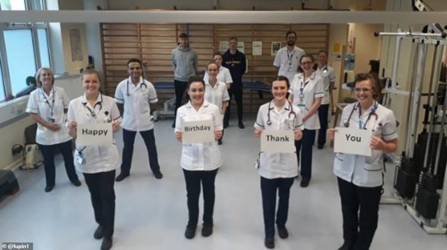 Respiratory Physiotherapy staff at Royal Wolverhampton NHS Trust wished 'NHS hero' Colonel Tom a happy birthday