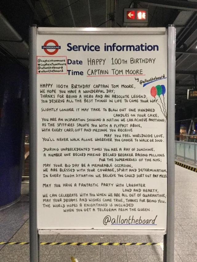 'You'll never walk alone': Pictured is a message left for Colonel Tom Moore on a London Underground noticeboard