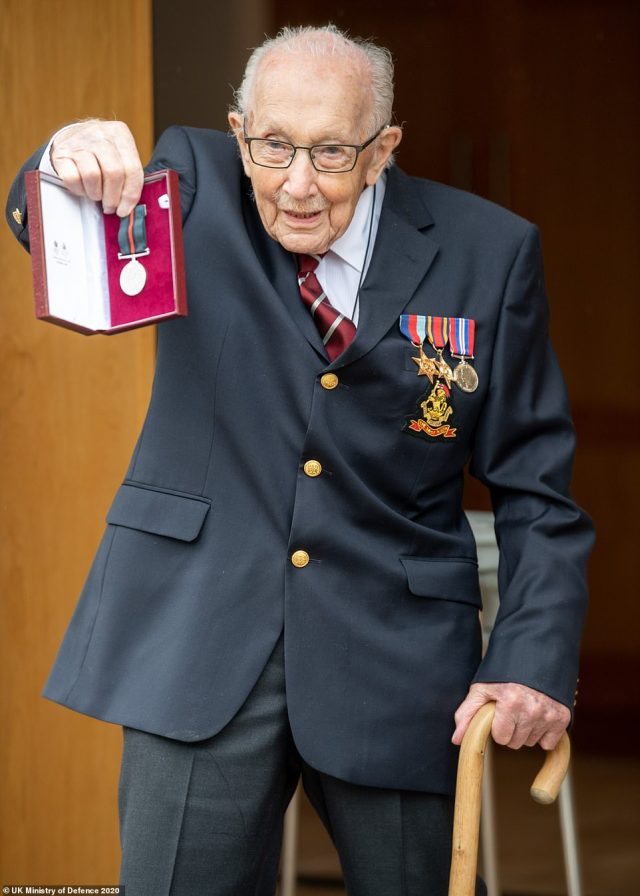 Captain Tom Moore, a former British Army Officer, has been promoted to the rank of Colonel on his 100th Birthday by the Queen after he raised £30 million for the NHS amid the coronavirus pandemic