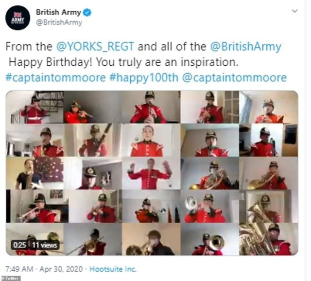 A host of well-wishers from all over the country including the Yorkshire Regiment have taken to social media to say Happy Birthday