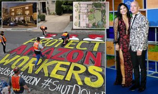 Amazon Workers Hold Graffiti Protest Outside Jeff Bezos' m DC Home as They Demand Hazard Pay and More Protection From Coronavirus