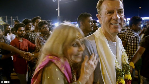 Bond girl Britt Ekland had dragon Duncan Bannatyne blushing on BBC1's The Real Marigold Hotel on Thursday