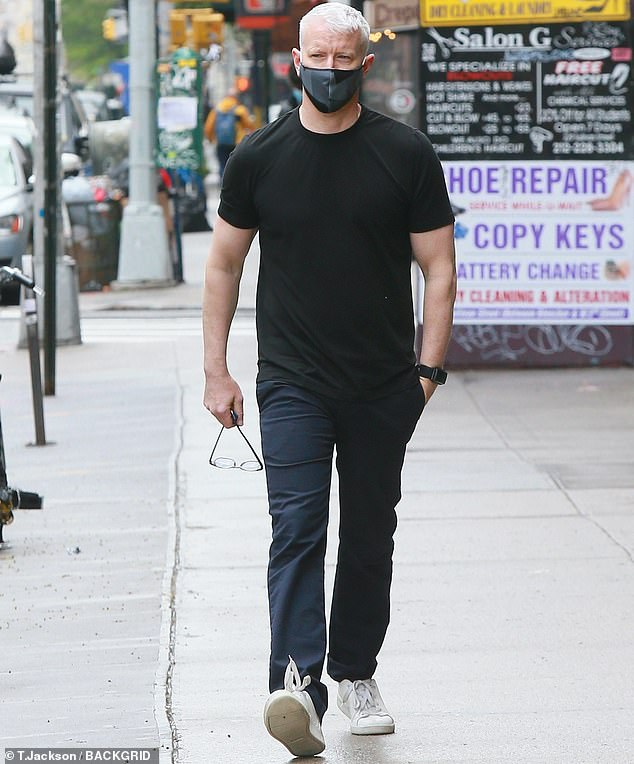Stay cautious: in the midst of the ongoing coronavirus pandemic, he took the precaution of wearing a face mask when hitting the sidewalk