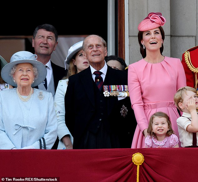 The Queen, 93, and Prince Charles, 72, both sent their best wishes to Princess Charlotte as the Little Royal celebrates its fifth anniversary today (pictured, the royal family account shared several photos of the little princess, including one of Prince Philip, the Queen, Kate and Princess Charlotte at Trooping the Color in 2017)