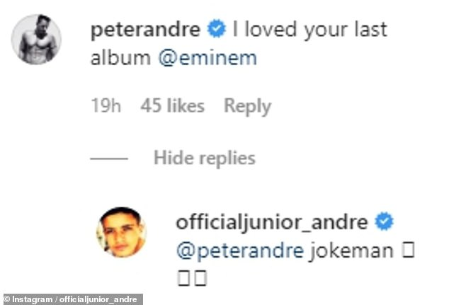 Banter: Father and son shot each other in the comments section, with Peter brandishing Junior 'Eminem' in the photo