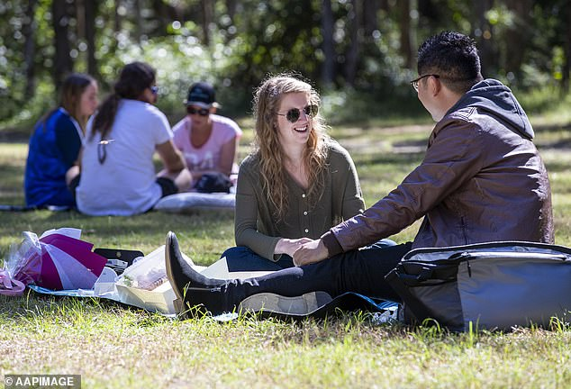 Ministers are preparing to lift restrictions on outdoor activities such as picnics as the first stage in relaxing the lockdown rules. Pictured: people enjoying a picnic at Daisy Hill Forest park, Brisbane, Australia, on May 2