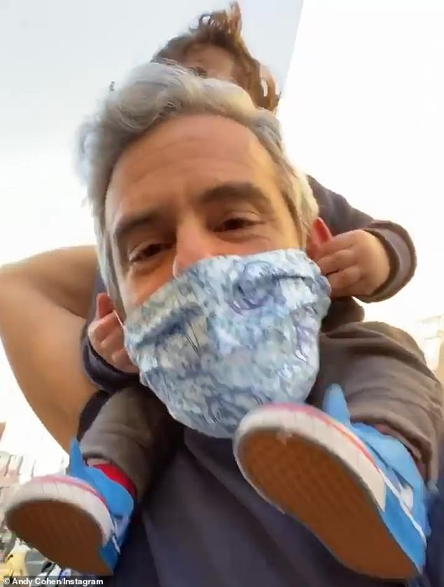 Close up:Cohen, who himself is a survivor of Covid-19, took to his Instagram Story during the cheering session in a Grateful Dead mask covered in the rock band's Steal Your Face logos