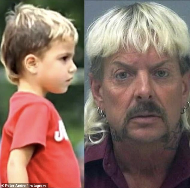 Dad ... is that you? Peter Andre, 47, went on Instagram on Saturday to joke that Joe Exotic, 47, is his son Junior, 14, REAL father, with a hilarious return from his son with a blond mule