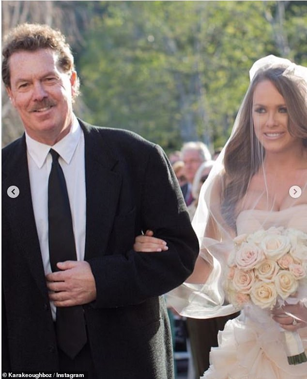 Memories: Kara shared multiple throwback photos of her father, including some of him playing with her daughter Decker, now four, and him walking her down the aisle as she married NFL star Kyle Bosworth