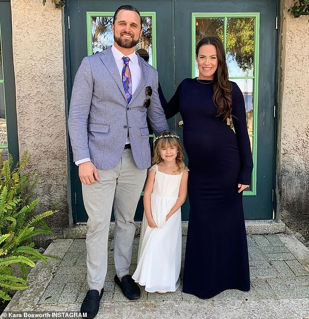 Kara married former linebacker Kyle Bosworth in February 2014; pictured with their daughter Decker