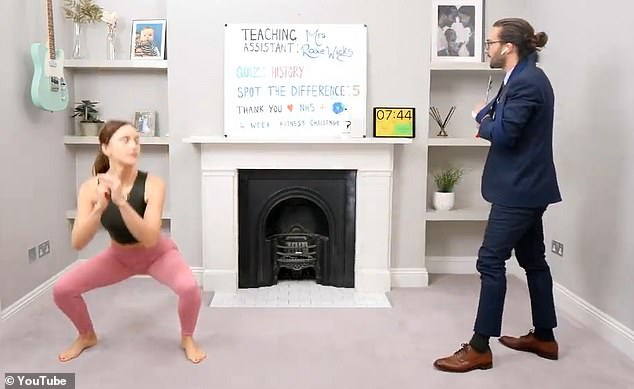 Difficult: squats were integrated into the livestream of Monday morning exercise, which was watched by more than 350,000 fans