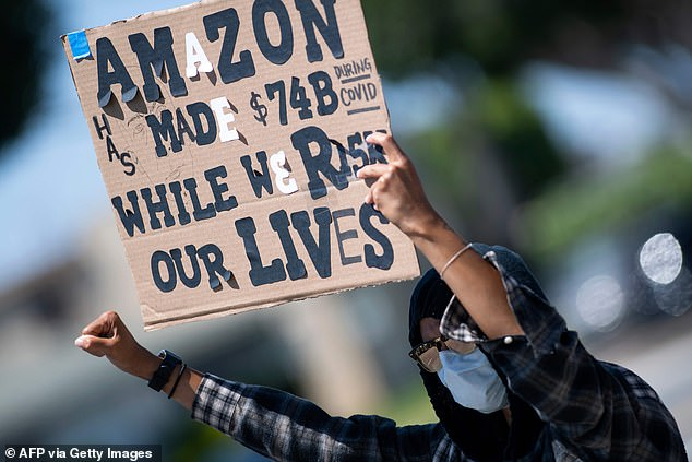 Workers Protest Failure of Employers to Provide Adequate Workplace Protection at Amazon's Delivery Platform During May 1 National Walkout / National Escape by Workers in Hawthorne, California