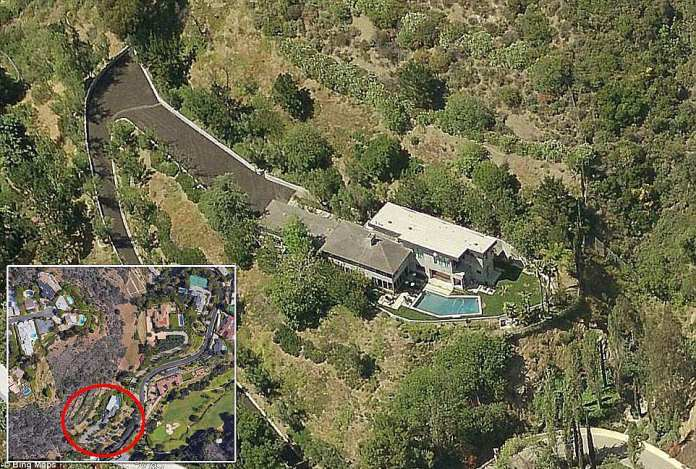 Musk owns this Bel Air home with its other Bel Air properties (located in the lower left of the map)