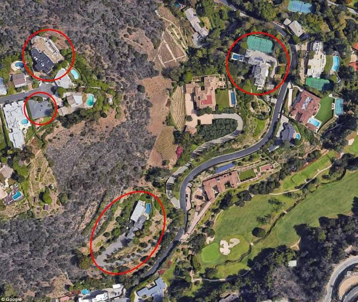 Musk's real estate portfolio includes a group of six houses spread across just two streets in the Bel Air section of Los Angeles. The houses (four of which are surrounded above) are within walking distance of each other