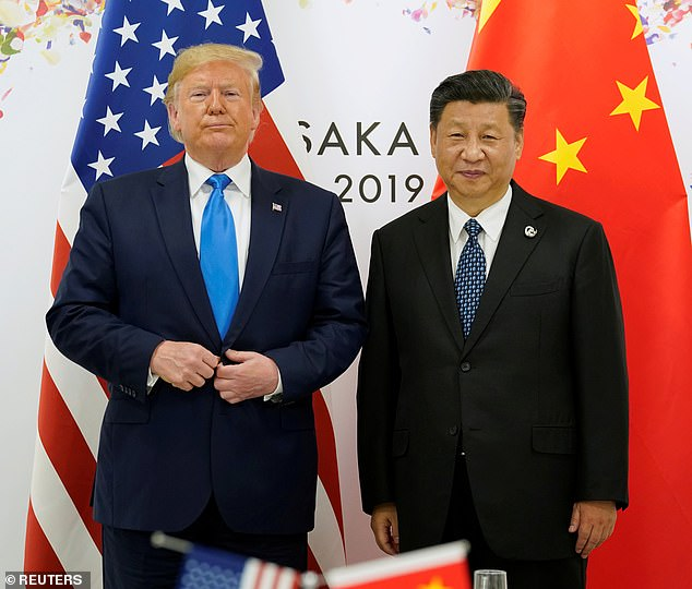 Trump continued to point the finger at Beijing during a virtual town hall meeting hosted by Fox News on Sunday, saying there was enough evidence to prove that President Xi Jinping's regime misled the global community. Trump and Jinping are pictured together in June 2019
